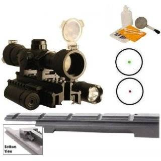 "Ultimate Arms Gear Enfield Rifle Scope Sight Model .303 NO.1 MK3 Weaver Picatinny Rail Mount + ""CQB"" Illuminated Red & Green Dot Scope + Flashlight Light + Laser + Tri Weaver Picatinny Rail See Thru Mount  Includes Pressure Switches, Rings, B"