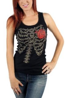 Lucky 13   Womens Rose Heart Tank Top, Size: X Large, Color: Black: Clothing