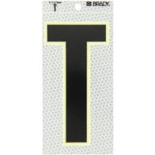 "Brady 3020 T 6"" Height, 3"" Width, B 309 High Intensity Prismatic Reflective Sheeting, Black, Glow In The Dark Border/Silver Color Glow In The Dark Or Ultra Reflective Letter, Legend ""T"" (Pack Of 10): Industrial Warning Signs: Industria"