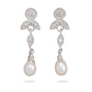 Rhodium Plated Sterling Silver CZ/White Cultured Freshwater Pearl Earrings: West Coast Jewelry: Jewelry
