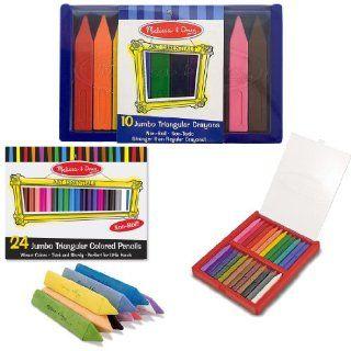 Melissa & Doug Triangular Jumbo Crayons (10 Pack), Triangular Crayons (24 Pack), Jumbo Triangular Chalk Sticks (10 Pack), and Jumbo Triangular Colored Pencils (24 Pack) Toys & Games