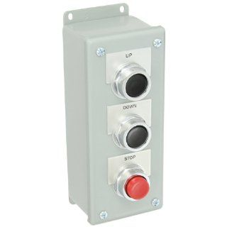 """Siemens 52C332A Heavy Duty Pushbutton Control Station, Water and Oil Tight, 3 Command Points, 1 Momentary Flush Black """"UP"""" Labeled Pushbutton, 1 Momentary Flush Black """"DOWN"""" Labeled Pushbutton, 1 Momentary Raised Red """"STOP"""" La"""