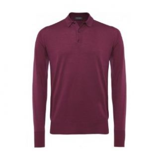 John Smedley Men's Cotswold Long Sleeved Polo Shirt XXL Wine Clothing