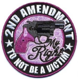 "Embroidered Iron On Patch   Ladies 2nd Amendment My Right 3.5"" Biker Patch: Clothing"