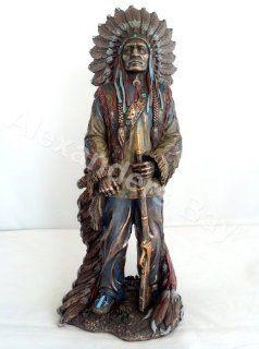 11.75 Inch Chief Sitting Bull w/ Rifle Figure Statue Figurine American Warrior Indio Indian
