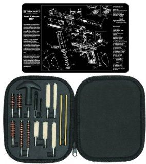 Ultimate Arms Gear Gunsmith & Armorer's Cleaning Work Bench Gun Mat S&W Smith & Wesson M&P + Professional Tactical Cleaning Tube Chamber Barrel Care Supplies Kit Deluxe 17 pc Handgun Pistol Cleaning Kit in Compact Molded Field Carry Cas