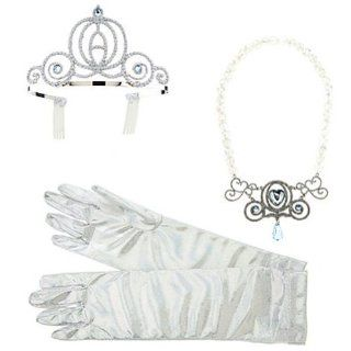 Disney Deluxe Cinderella Costume Accessory Set Necklace Crown Tiara: Clothing