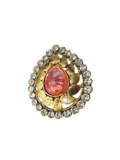 Kundan Ring Jodha Akbar Adjustable Gold Tone Light Pink Rings: Tarini Jewels: Jewelry
