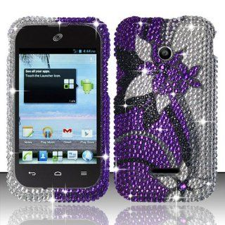 Huawei Inspira H867G Glory H868c FULL DIAMOND BLING PURPLE SILVER VINES AND FLOWER DESIGN HARD SNAP ON RUBBERIZED 2 PIECE PLASTIC CELL PHONE CASE Cell Phones & Accessories
