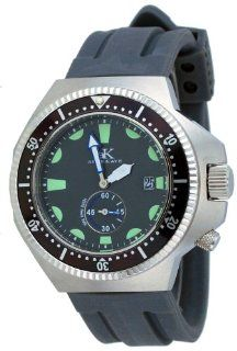 Adee Kaye #AK7235 MRB Men's Deep Buceo Stealth Collection Stainless Steel Silicone Rubber Band 300M Dive Watch: Watches