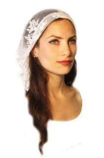 ShariRose Tichel, Hair Snood, Head Scarf, Pre Tied Bandana White Lace Clothing