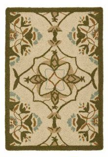 Safavieh HK376A 210 Chelsea Collection 2 Feet 6 Inch by 10 Feet Hand hooked Wool Area Runner, Ivory and Green   Area Rugs