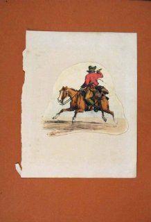 Horse Riding Cowboy Sketch Drawing Color Fine Art Old   Prints