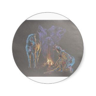 Camp Fire Native American Indian Warrior Round Sticker