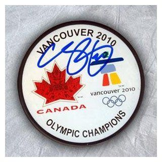Autographed Chris Pronger Hockey Puck   Team Canada 2010 Olympic Gold   Autographed NHL Pucks: Sports Collectibles