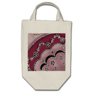 Girly Tribal Tattoo Flowers and Heart Vines Design Canvas Bags