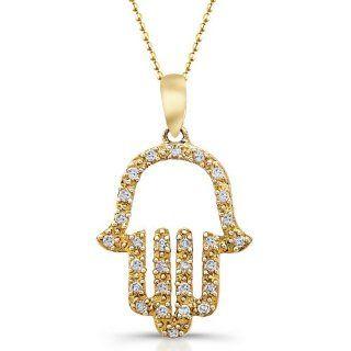 "Victoria Kay 14k White Gold Diamond Hamsa Pendant (1/10cttw, JK, I2 I3), 16"": Jewelry"