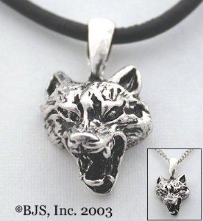 "Wolf Head Necklace, Sterling Silver, 24"" long black leather cord, Wolves Jewelry"