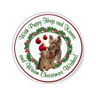 Yorkie Puppy Puppy Hugs & Kisses Christmas Wishes Round Stickers