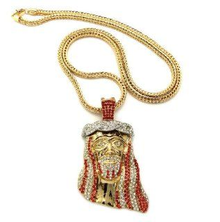 "New Iced Out Gold/Red Jesus Face Pendant w/4mm 36"" Franco Chain Necklace MP424GRD: Jewelry"