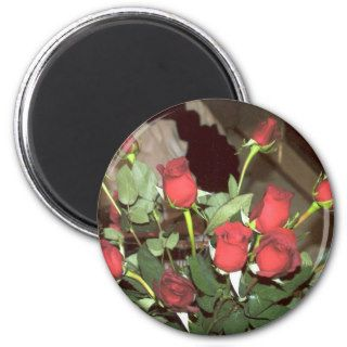 Dozen Red Roses Fire Romantic Setting Photo Art Refrigerator Magnet