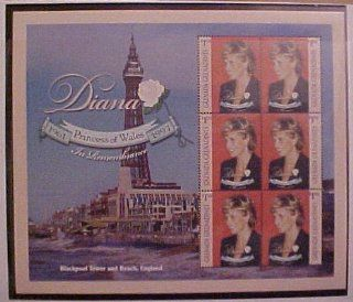 Princess Diana In Rememberance 1961 1997 Collector Sheet Blackpool Tower and Beach, England $1.50 Grenada Grenadines 6 Stamp Sheet: Everything Else