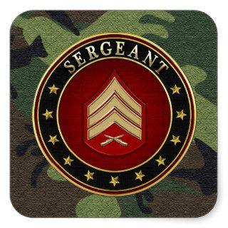 [500] Sergeant (Sgt) Rank Insignia Square Sticker