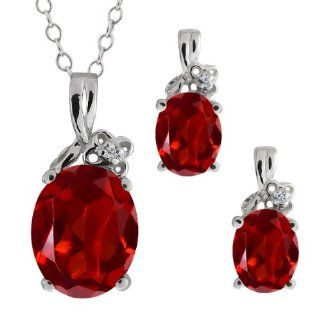 5.67 Ct Genuine Oval Red Garnet Gemstone Sterling Silver Pendant Earrings Set Jewelry