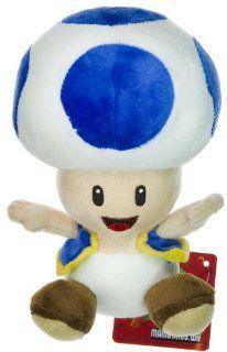 "Nintendo Super Mario Bros. Wii Plush Toy   6"" Blue Toad: Toys & Games"