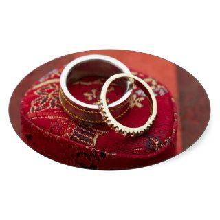 Oval Wedding Favor Seals Wedding Rings Storage Box Stickers