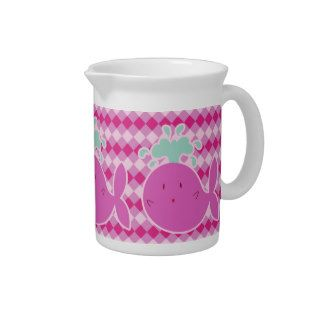 Cute Pink Cartoon Whale Drink Pitcher