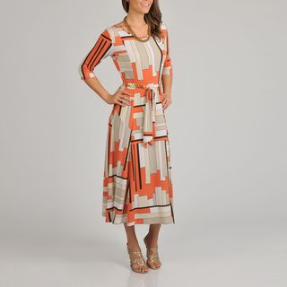 Lennie for Nina Leonard Womens Geometric Print 3/4 Sleeve Gold Link Belt Dress Casual Dresses