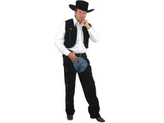 Adult Medium 40 42 Black Cowboy Costume faux Suede Chaps and Vest