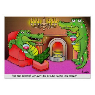 Funny crocodile cartoon den poster