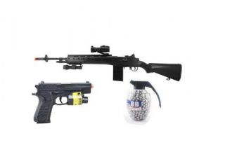 400 FPS AGM M14 SOCOM RIS High Powered Sniper Rifle w/ Tactical Rail System, Flashlight, and Red Dot Scope + 180 FPS Flashlight, Laser, Pistol + 800 Count Grenade BB's Airsoft