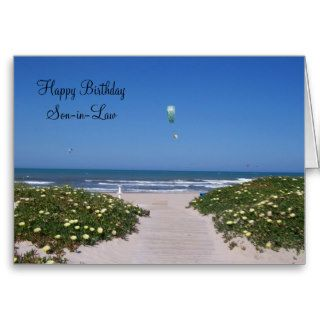 A Happy Birthday Son in Law Card Kite Surfers