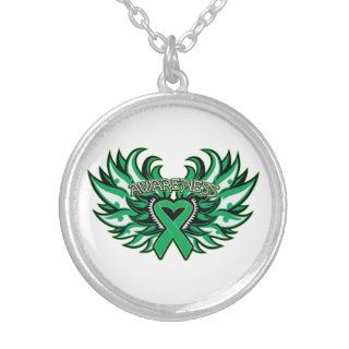 Liver Cancer Awareness Heart Wings Custom Necklace