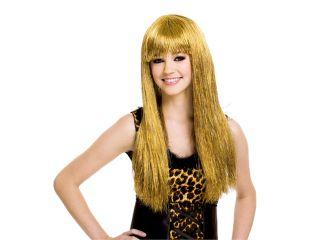 Tween Girls Long Gold Tinsel Rock Star Costume Wig